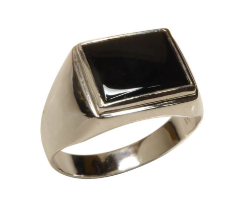 Wit gouden onyx cachet ring
