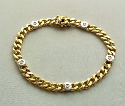 18 karaat bicolor gouden armband met diamant
