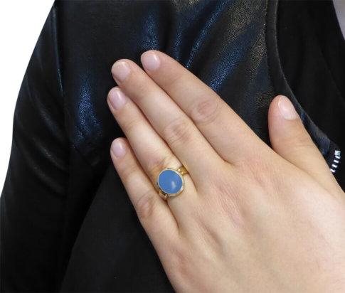 Christian goud cachet ring met lagensteen