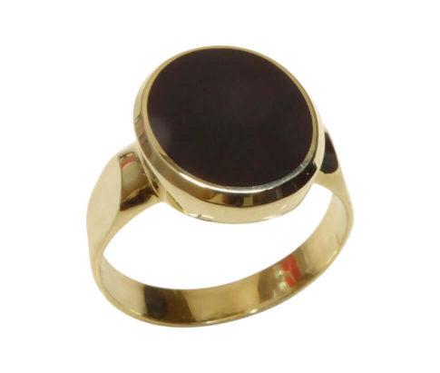 Gouden 14 karaat lagensteen cachet ring