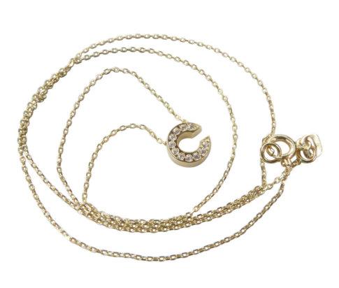 Gouden ketting met C zirkonia hanger