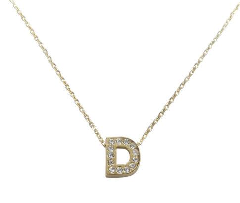 Gouden ketting met D zirkonia hanger