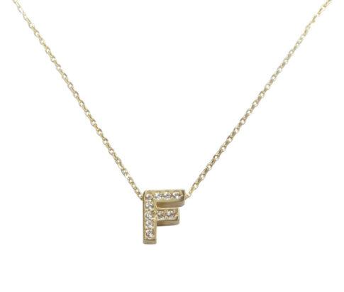 Gouden ketting met F zirkonia hanger