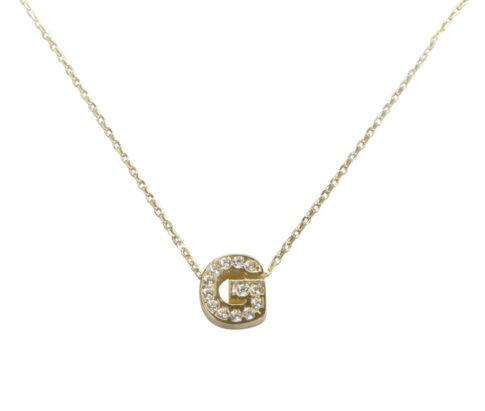 Gouden ketting met G zirkonia hanger