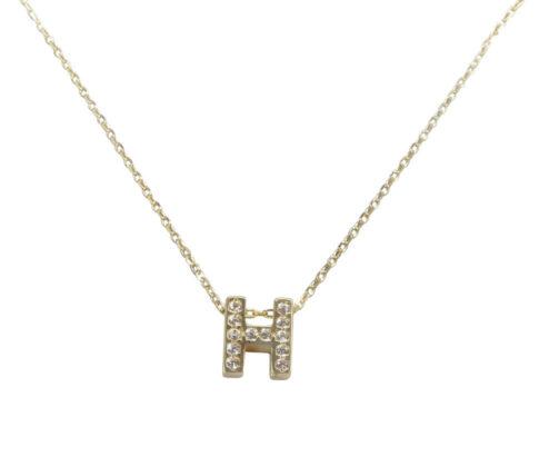 Gouden ketting met H zirkonia hanger