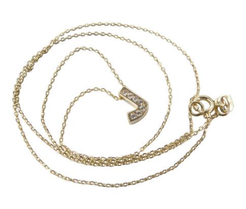 Gouden ketting met J zirkonia hanger
