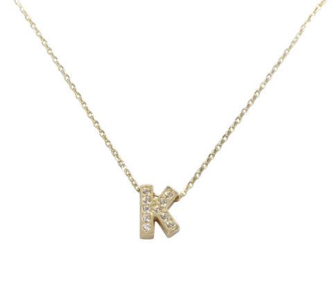 Gouden ketting met K zirkonia hanger