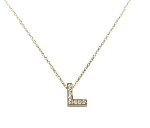 Gouden ketting met L zirkonia hanger