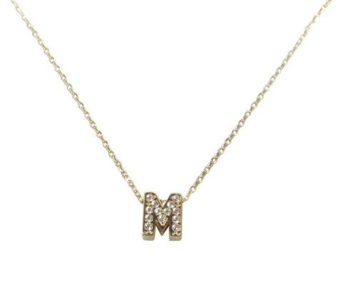 Gouden ketting met M zirkonia hanger