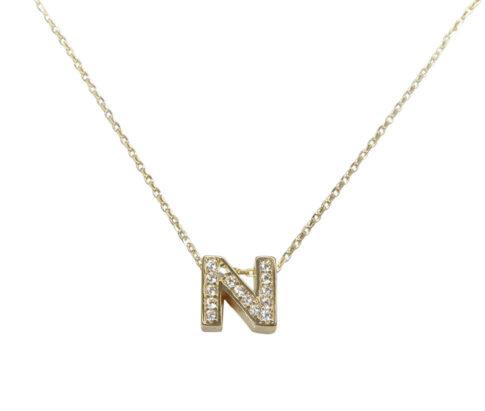 Gouden ketting met N zirkonia hanger