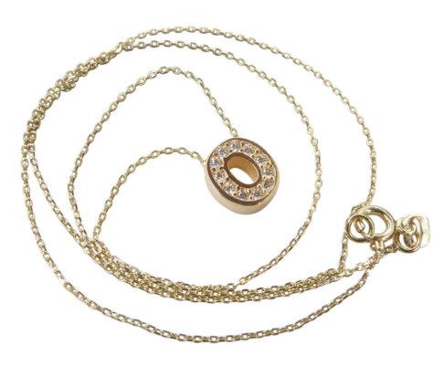 Gouden ketting met O zirkonia hanger