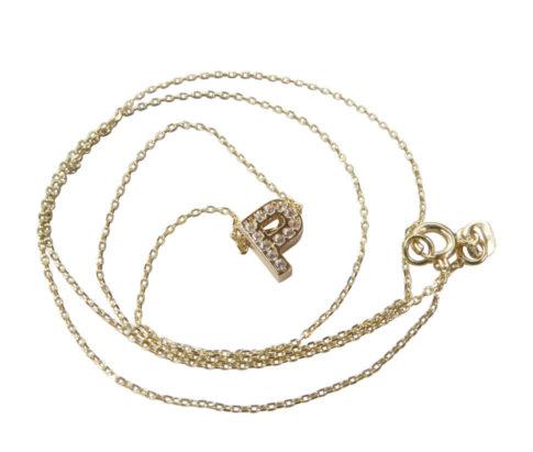Gouden ketting met P zirkonia hanger