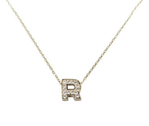 Gouden ketting met R zirkonia hanger