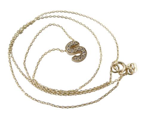 Gouden ketting met S zirkonia hanger