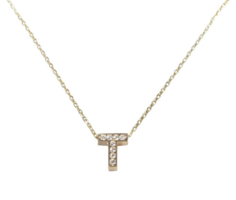 Gouden ketting met T zirkonia hanger