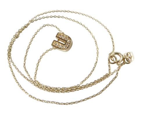 Gouden ketting met U zirkonia hanger