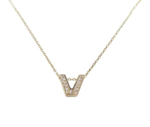 Gouden ketting met V zirkonia hanger