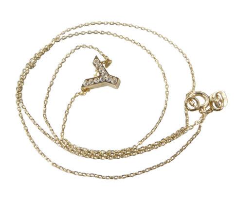 Gouden ketting met Y zirkonia hanger