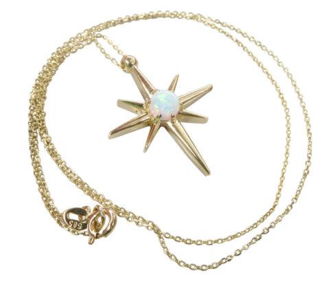 Geel gouden opaal ster hanger