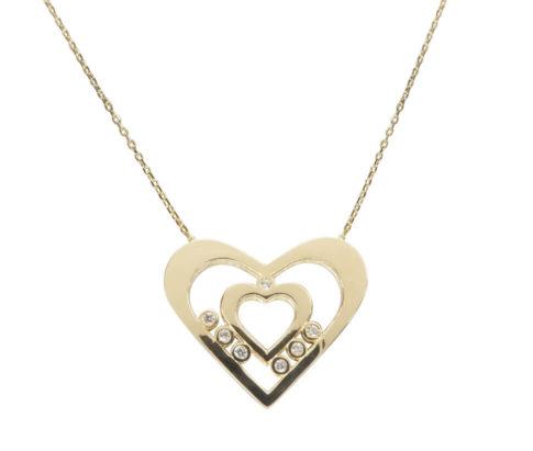 Gouden zirkonia dubbele harten hanger