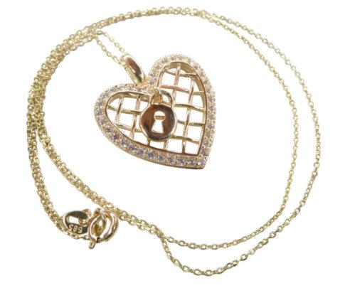 Gouden zirkonia harten slot hanger