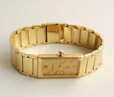 Geel gouden Prisma horloge