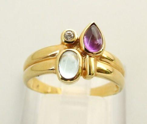 Gouden ring met topaas, amethist en briljant