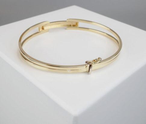 Bicolor gouden schanier armband