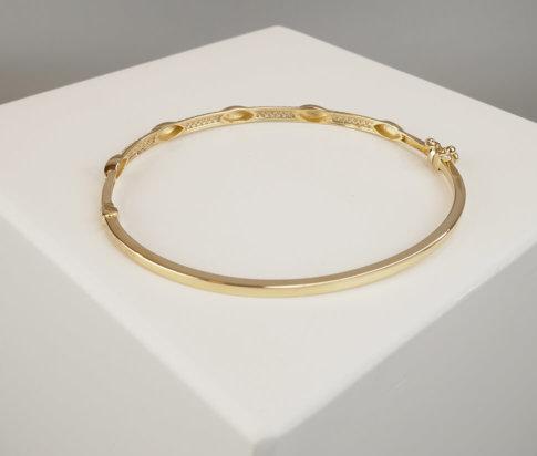 Geel gouden 14 karaat armband met zirkonia