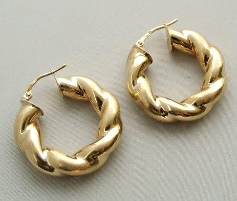 Gouden gevlochten oorbellen