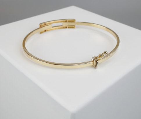 Wit en geel gouden scharnier  armband