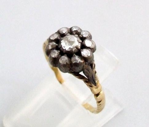 Geel gouden roosdiamanten ring