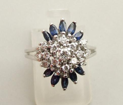 Gouden diamanten ring met saffier