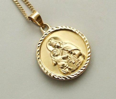 Gouden collier met Christus en Moeder Gods