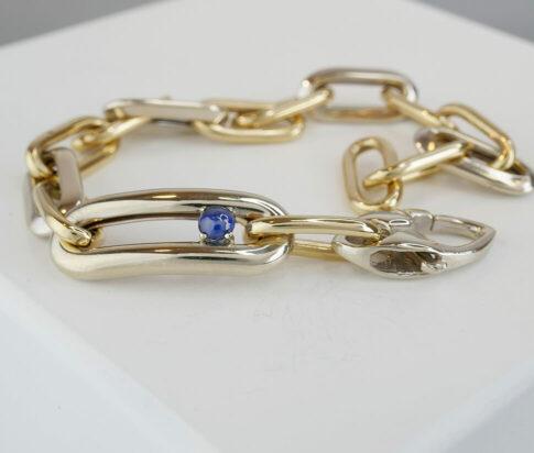 Bicolor gouden armband met saffier