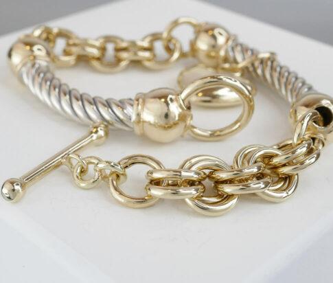 Vintage bicolor gouden armband